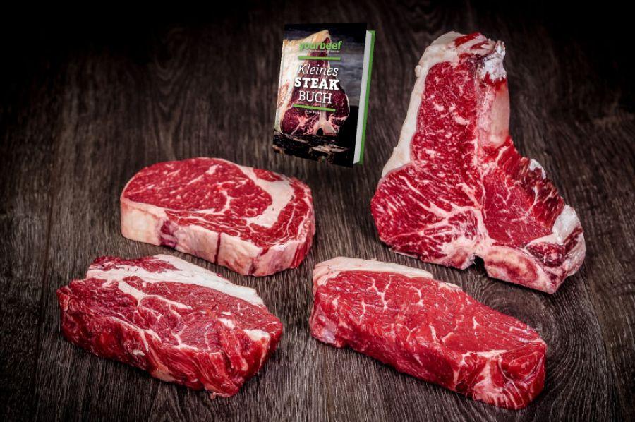 In diesem Paket sind alle Teile des Rinderrückens enthalten. Vom T-Bone mit Roastbeef und Filet über das Rumpsteak zum Rib Eye und Prime Rib - hier sind die besten Steaks vereint. Außerdem erhaltet Ihr das Kleine Steak Buch von yourbeef gratis im Paket da