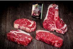 Die besten Steaks des Rinderrückens in einem Paket: T-Bone mit Roastbeef und Filet über Rumpsteak, Rib Eye und Prime Rib.  Außerdem erhaltet Ihr das Kleine Steak Buch von yourbeef gratis im Paket.